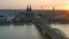 Cologne Cathedral and Hohenzollern Bridge. Cologne, Germany Stock Footage