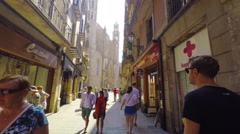 BARCELONA, POV, walking on narrow ancient streets of the city, steadicam. Stock Footage