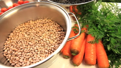 Healthy lifestyle. Food, vegetables. Beans, tomatoes, carrots, radish, kale Stock Footage