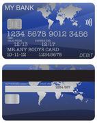 Debit Card Blue World Map - stock illustration