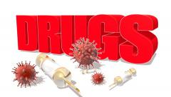Red drugs title with syringe Stock Footage