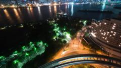 Stock Video Footage of Time-lapse of the bay and traffic from Odaiba, Tokyo