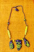 Hand made stone necklace Stock Photos