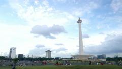 Merdeka Square and National Monument, Jakarta city, timelapse - stock footage