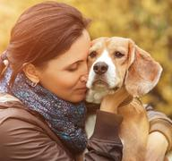 Woman and her favorite dog portrait Stock Photos