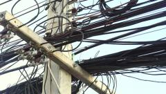 Asian Electrical Street Wiring. Stock Footage