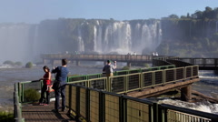 Tourists Taking Photos at Iguazu Falls, Foz do Iguacu, Brazil Stock Footage