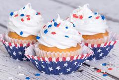 Cupcakes with patriotic sprinkles - stock photo