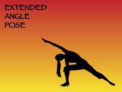 Yoga Woman Extended Angle Pose Stock Illustration