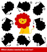 Matching young cartoon lion with the right shadow Stock Illustration