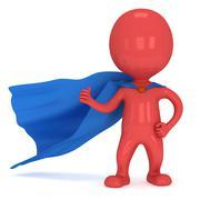 Stock Illustration of Brave superhero with blue cloak