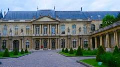 PARIS, POV, walking in inner yard of National Archive, steadicam. Stock Footage