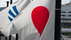 Japanese Flag Waving In The Wind At Port Of Shimonoseki Japan Stock Footage