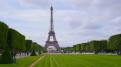 PARIS, skyline and Eiffel tower, Champs de Mars,  steadicam Stock Footage