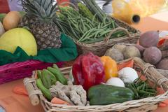 basket with vegetables and fruits of various kinds - stock photo