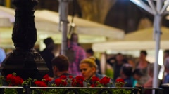 BARCELONA, People relaxing in cafe on Rambla boulevard. Stock Footage