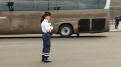 Female police in Paris, France Stock Footage