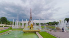 Paris skyline and Eiffel tower, fountains on Chaillot hill, dolly, steadicam.  Stock Footage