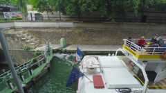 PARIS, ship docking in floodgate in channel, steadicam. - stock footage