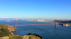 The Golden Gate Bridge as seen from Marine Headlands Stock Footage