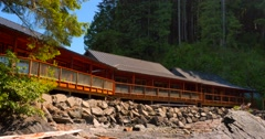 4K Pan Shore Front Beach Cabins, West Coast Forest Beach Stock Footage