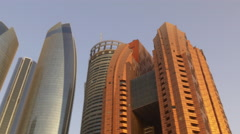 Stock Video Footage of sunset light abu dhabi skyscrapers top panorama 4k uae