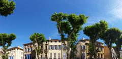 Panoramic view of The Cours Mirabeau in Aix-En-Provence - stock photo
