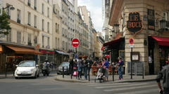 Street corner in Paris, France Stock Footage