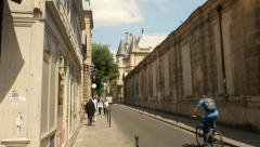 Beautiful old street in Paris, France Stock Footage