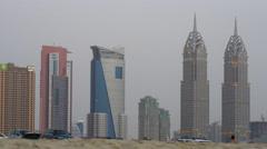 Dubai city evening tecom towers view 4k uae Stock Footage