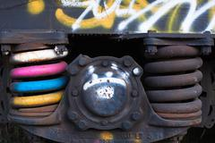 Close-up of rusted springs on freight train boxcar, Sterling, Colorado - stock photo