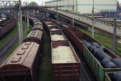 Stock Photo of Freight trains on city cargo terminal