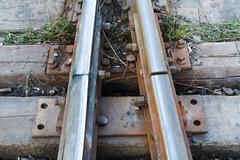 Close up of a Railroad Track Junction - stock photo