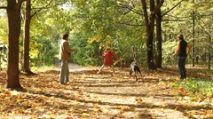 Family playing with dog outdoors - stock footage
