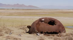 Drought dry lakebed tilt Stock Footage