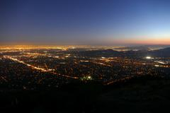 Pasadena and Los Angeles Night Aerial - stock photo