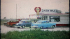 2228 - highway ice cream stop at the Dairy Mart - vintage film home movie Stock Footage