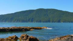 4K Remote Slate Rock Beach, Pacific North West Island, BC - stock footage