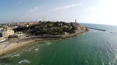 Aerial view of old Jaffa Port ,Tel-Aviv Israel Stock Footage