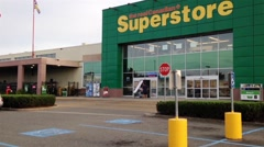 The entrance of Superstore Stock Footage