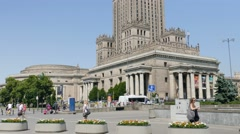 Warsaw, Poland. Downtown and Palace of Culture and Science Stock Footage