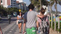 General View of People Walking on Ipanema Beach Sidewalk, Rio de Janeiro, Brazil Stock Footage