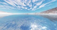 4k clouds mass rolling over shine lake surface & snow mountain. Stock Footage