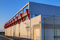Aluminum facade on residential building - stock photo