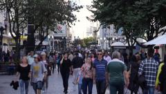 Stock Video Footage of Pedestrian Traffic in Downtown Curitiba, Parana, Brazil, Slow Motion