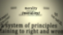 Definition: Morality - stock footage