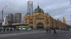 Flinders St Station corner in Melbourne, Australia Stock Footage
