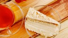 Tea and cream cake Stock Footage