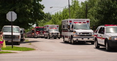 Emergency Vehicles in Fayetteville Firemans Parade 2014 4k Stock Footage