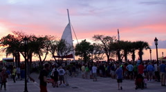 Crowd tourists at the Sunset Celebration on Mallory Square in Key West Old Town Stock Footage